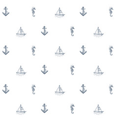 summer sea pattern anchor boat vector image