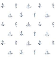 Summer sea pattern anchor boat vector