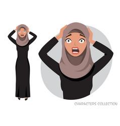 Surprised shocked eastern woman vector