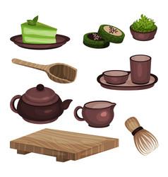 tea ceremony equipment set tea time symbols and vector image