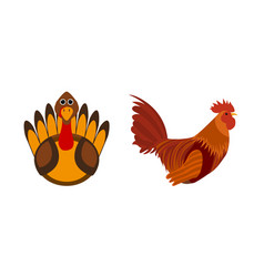 Turkey bird and rooster silhouette of cock vector