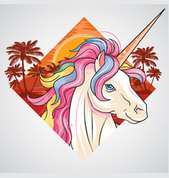 unicorn summer sunset summer at beach with coconut vector image