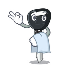 Waiter mascot ilustration featuring on car key vector