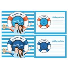 Wedding card invitation in blue sea theme vector