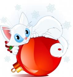 White christmas cat vector