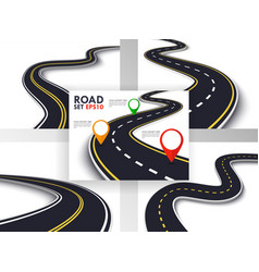 Winding road set trip and journey route business vector
