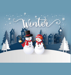 Winter season and merry christmas with snow man vector