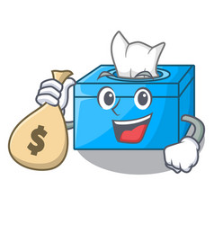 With money bag character tissue box on wood floors vector