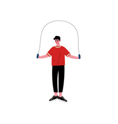 Young man skipping with jump rope male athlete vector