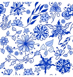 Abstract seamless doodle blue flovers pattern vector image vector image