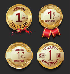 anniversary retro golden labels collection 1 year vector image