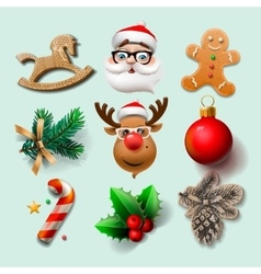 Christmas icons objects vector image vector image