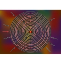 Reaching the goal in labyrinth colorful rainbow vector image vector image