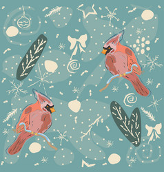 seamless winter pattern with winter doodles and vector image vector image