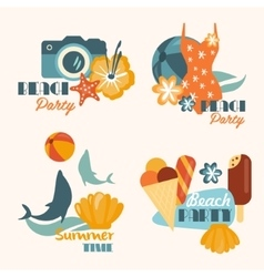 Set of Beach Party and Summer Time Vacation vector image vector image