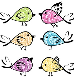 Set of colorful patterned birds vector image