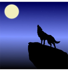wolf howls vector image vector image