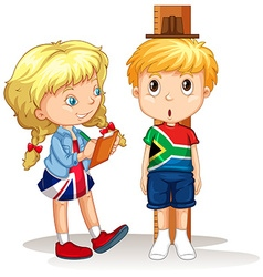 Boy and girl measure the height vector image vector image