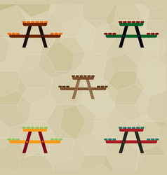 Camping table wooden park bench collection vector