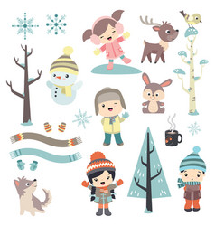 cute children in winter time vector image vector image