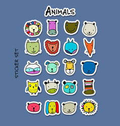 set of animal faces sticker set for your design vector image vector image