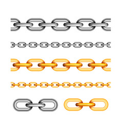 set of different seamless chains on white vector image vector image