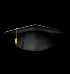 Black graduation cap - mortarboard hat on black vector image