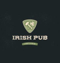 classic retro styled label for irish pub vector image