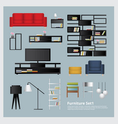 furniture and home decoration set vector image vector image