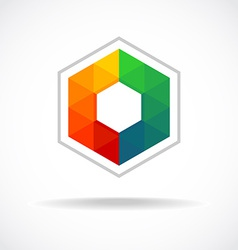 Hexagon with color triangles sign Abstract logo vector image