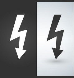 lightning icon two-tone version on black and vector image