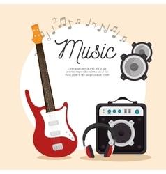 Music electric guitar speaker headphone note vector