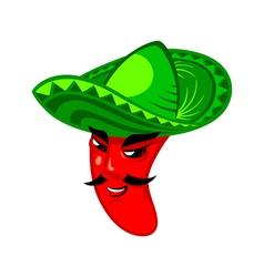 Pepper man in sombrero vector image
