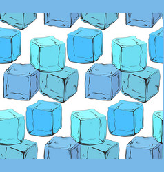 seamless texture with blue hand drawn ice cubes vector image