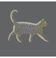Abstract golden cat vector image vector image