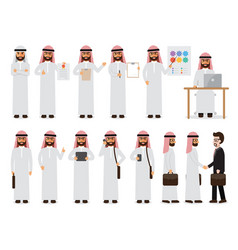 Arab businessman characters in action vector