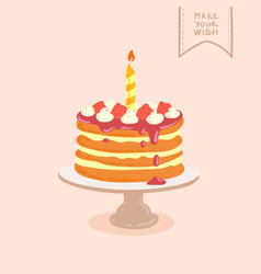 doodle birthday cake vector image vector image