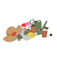 garden tools and flowers in pots vector image vector image