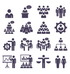 group of business people icons set vector image vector image