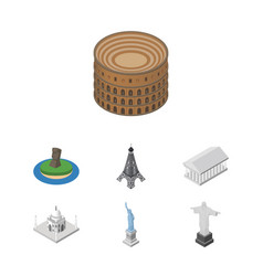 isometric travel set of india mosque athens new vector image vector image