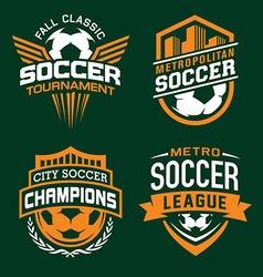 Soccer sport emblem set vector