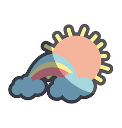 sun with cloud and beuty rainbow weather vector image