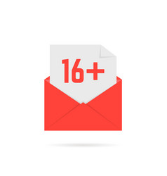 16 plus icon in red open letter on white vector