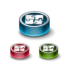 3d glossy puzzle web icon vector