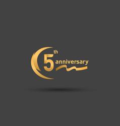 5 years anniversary logotype with double swoosh vector