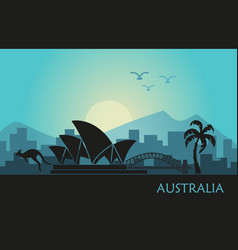 abstract landscape australia at sunset vector image