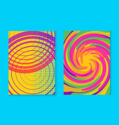 abstract memphis colorful card background set vector image