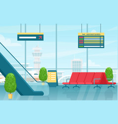 airport first floor interior flat colorful vector image