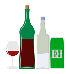Alcohol drinks vodka and wine beer vector