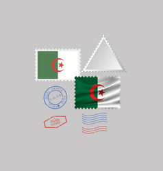 Algeria flag postage stamp set isolated on gray vector
